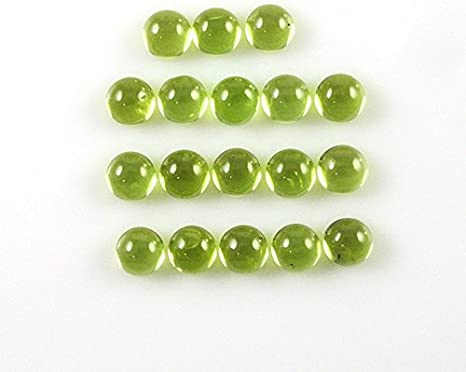 Details about  /GTL CERTIFIED 100 Pcs Lot Natural Peridot 4mm Round Cabochon Loose Gemstone O39