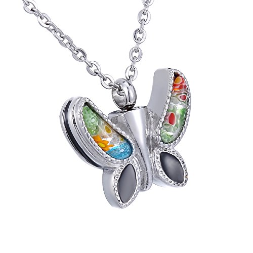 (HooAMI Cremation Jewelry Murano Flower Butterfly Pendant Memorial Urn Necklace)