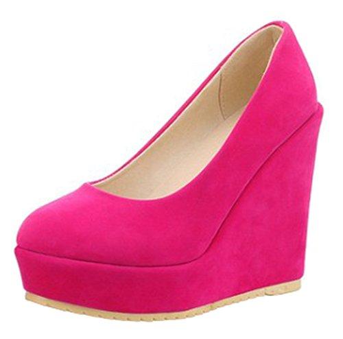 Aisun Femmes Confort Simple Coupe Basse Bout Rond Slip Sur Plate-forme Talon Haut Talons Compensés Chaussures Rose Rouge
