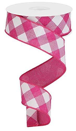 Diagonal Plaid Check Wired Edge Ribbon - 10 Yards (Fuchsia, White, 1.5