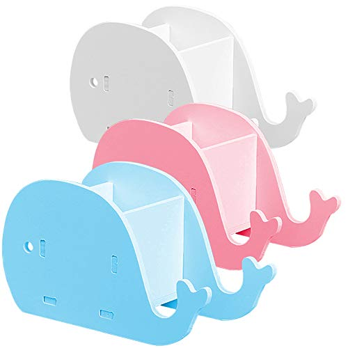 3 Pcs Whale-Shape Desk Pencil Pen Holder & Cell Phone Stand, AIFUDA Wood Plastic Board Cute Stationery Multifunctional Organizer for Home Office Adults Kids - White, Blue, Pink (Shape Pen Stand)