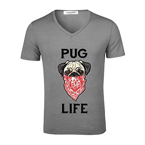 Chas Pug Life Forever Men V Neck Print T Shirt Grey