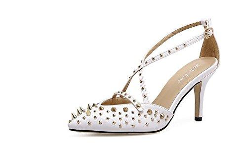 Stilettos Toe Sandals Wheeler Women Heel Dress Pump Open Sandals White Open Women High Toe Queena Heel Shoes Pump Fashion w8q7xdYY