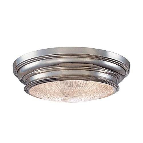 (Woodstock 3-Light Flush Mount - Polished Nickel Finish with Clear Prismatic Glass Shade )