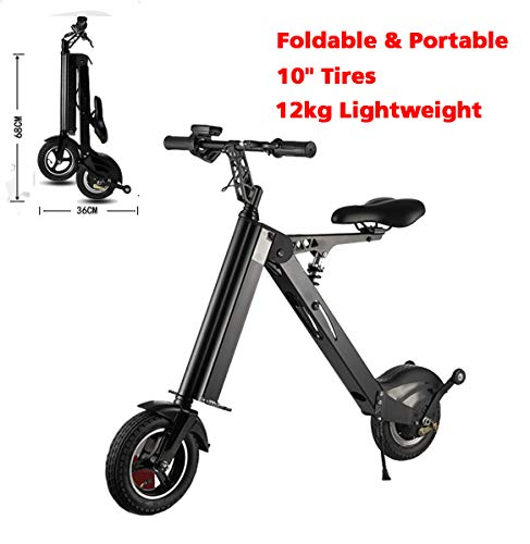 (SHI PAO Adult Mini Electric Bikes Fashion & Lightweight 350W 25KM/H Foldable & Portable Electronic Scooter Vehicle with 10'' Tires Aluminum Frame Rechargeable Lithium Battery)