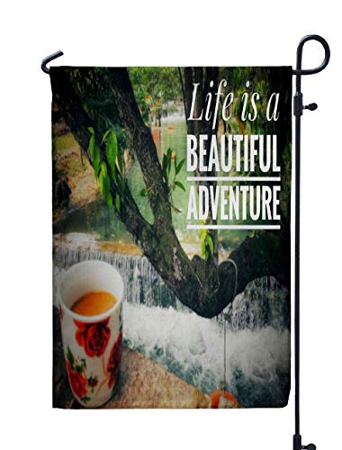 Shorping Easter Garden Flag, 12x18Inch Motivational and Inspirational Life Beautiful Adventure with for Holiday and Seasonal Double-Sided Printing Yards Flags -