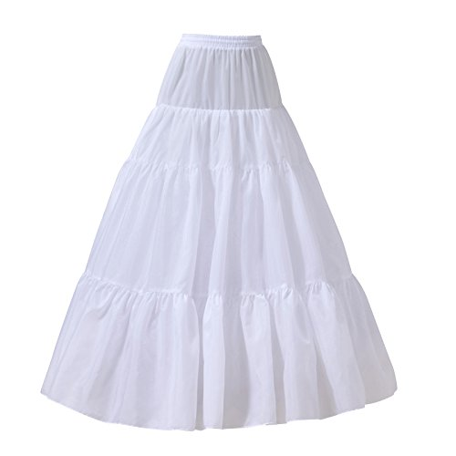 AW BRIDAL A Line Petticoat Skirt Floor Length Bridal Petticoat Hoopless White Crinoline Underskirt, Large