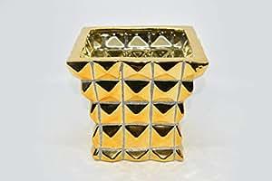 Nordic Style Golden Rivets Ceramic Flower Pot for Plants, Gold Plant Pot, Home Decor