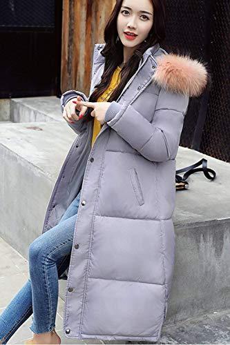 Manches Femme Fourrure Gaine Automne Grey Chic Capuche Hiver Éclair Fausse Longues En Doudoune A Blouson Manteau Mode Col Quilting Désinvolte Fashion Unicolore Fermeture Élégant Jacken RwFrRqf