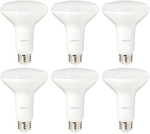 AmazonBasics 65 Watt Equivalent, Soft White, Dimmable, BR30 LED Light Bulb | 6-Pack
