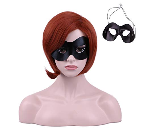 Yilys Short Brown Halloween Cosplay Wig With Eye Mask For -