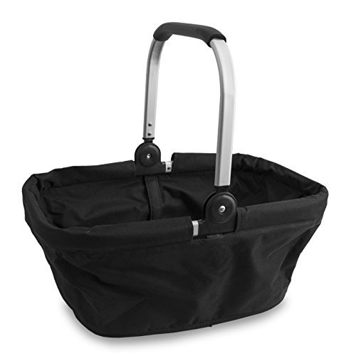 Cypress Basket - Cypress Home Collapsible Market Basket Folding Aluminum Black Purse Beach Shopping Bag Tote Gift New