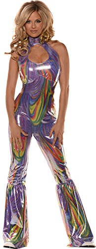 UHC Women's 70's Disco Diva Boogie Outfit Adult Fancy Dress Party Costume, L (14-16)