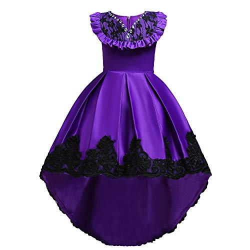 HUANQIUE Girls Pageant Flower Girl Bridesmaid Dress Hi-Low Ball Party Gowns Purple 10-11 Years ()