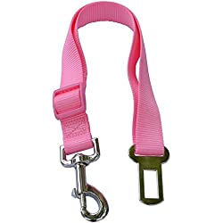 Lanyarco Hot Pink Pet Dog Adjustable Car Automotive Seat Safety Belt Vehicle Seatbelt leash lead Travel For Small/Medium/Large Dogs,Cats