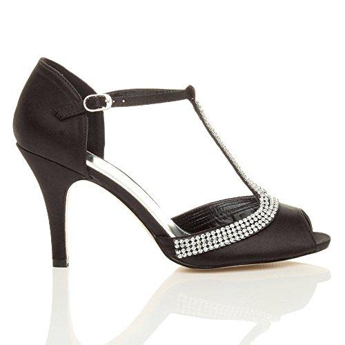 Nero tacco sandali alto Donna bridal scarpe cinturino t con peep toes bar numero Ox77wdq
