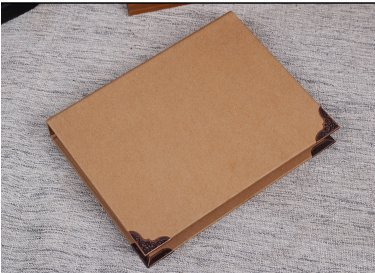 Laylala 1Pc Recycled Chipboard Kraft Paper 4 Round Rings Binder Cover File Folder DIY Album with Metal Corner Guard, 248x314mm(A4 Size) ()