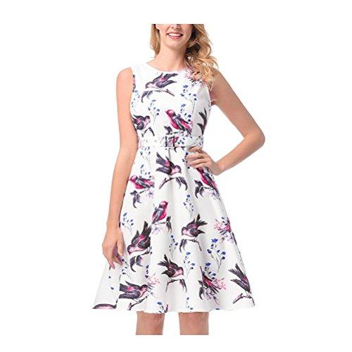 Women's White 123 Dresses Vintage Dresses SYGoodBUY Print Folds Sleeveless Short Hepburn Belt with rq65rn8w7