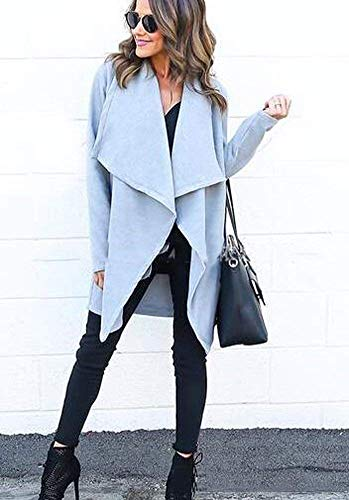 Color Hellblau Largos Abrigos Informales Mujer Hipster Elegantes Solapa Talla Manga Otoño Adelina Sólido Larga Retro Chaquetas Grande Gabardina Outerwear Primavera De Anchos 4qxZ1w