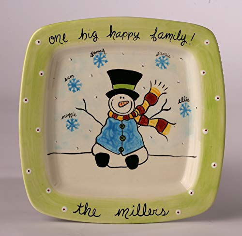 Snowman Holiday Hand Painted Ceramic Family Platter