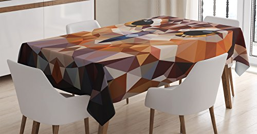 (Ambesonne Geometric Decor Tablecloth, Mosaic Owl Head in Linked Triangle Forms Retro Style Funky Geometric Art Boho Decor, Rectangular Table Cover for Dining Room Kitchen, 52x70 Inch, Brown Orange)