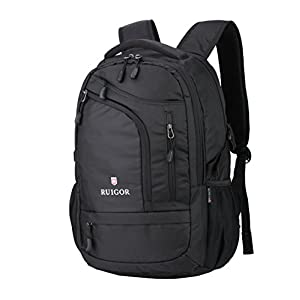 """Swiss Ruigor 6166 Water Resistant Backpack Fit For 15.6"""" Laptop and Notebook - Black"""