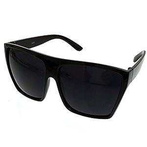 BLACK Oversized Large XL Big Sunglasses Kim Square Flat Dark Celebrity Womens