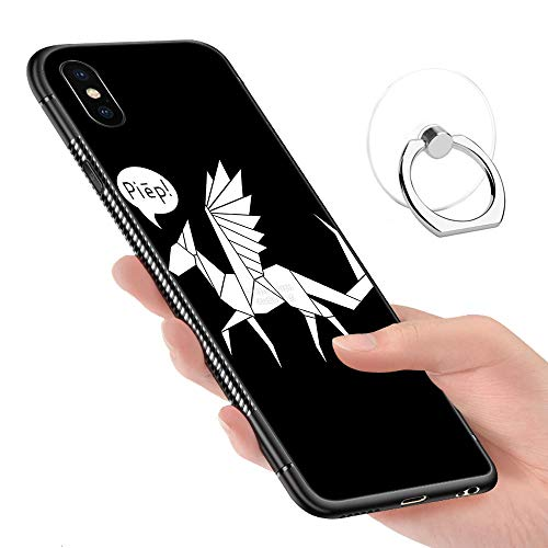 (iPhone Xs Max Case,Tempered Glass Pattern Painted Dutch Angle Dragon White Solid Bumper Cover for iPhone Xs Max)