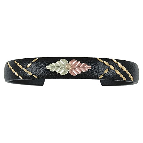 (Fashion Bangle with Black Hills Gold Trim and 12k Leaf Accents)