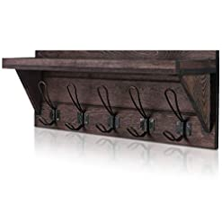 Entryway NEARPOW Coat Rack Shelf Wall Mounted, Rustic Coat Rack with Wider Shelf and Fence, Wooden Hanging Coat Rack 23″ Entryway Shelf with 5 Dual Hooks, Perfect for Your Entryway, Mudroom, Kitchen, Bathroom