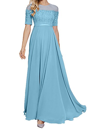 Lang 2018 Neu Charmant linie A Rock Promkleider Partykleider Festlichkleider Abendkleider Blau Spitze Damen PgHEH5nqwA
