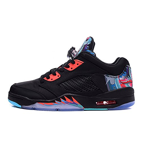 JOJD Air 5 Retro Low CNY Mens Leather Basketball Sports Shoes Black/Bright Crimson-Blue ()