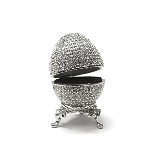 Faberge Egg Box Platinum Colored Swarovski Crystals, Silver with Stand Figurine Trinket Pill Jewelry Box (Box Trinket Jewelry Pill)