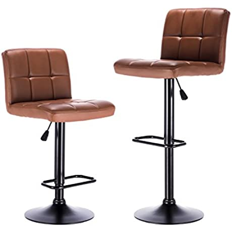 LCH Bar Stools Leather Adjustable Bar Stools With Metal Base Counter Height Swivel Bar Stool Chairs Set Of 2 Brown
