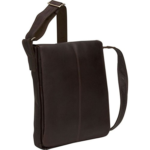 David King Small Vertical Leather Messenger Bag in Cafe (David Leather King Distressed)