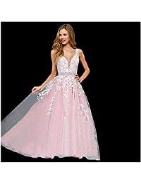 c69786bee5ec Women's Wedding Dress for Bride Lace Applique Evening Dress V Neck Straps  Ball Gowns