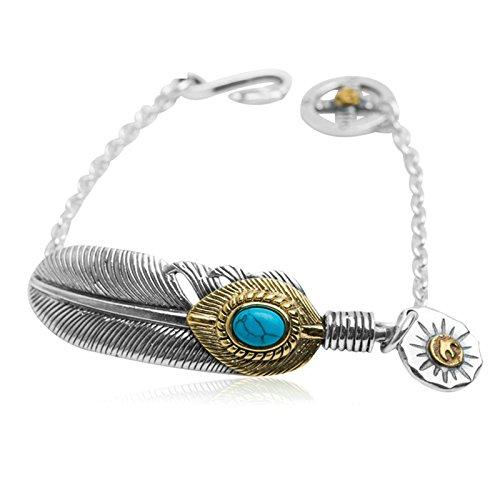 AMDXD Jewelry Men 925 Sterling Silver Bracelet Vintage Turquoise Feather Bracelet (Sterling Turquoise Vintage Bracelets)