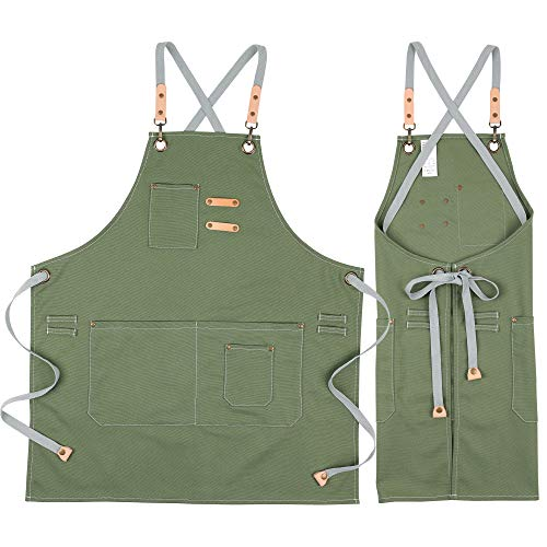 COOLYOUTH Cotton Apron for Men Women, Chef BBQ Grill Work Shop Aprons with Adjustable Strap (Green)