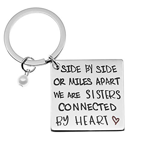 Ms.Clover Sisters by Heart Hand Stamped Keychain, Not Sisters by Blood But Sisters by Heart, Soul Sister Gift (Grey)