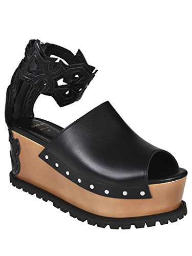 Compensées 03714001 Chaussures Femme Noir Cuir SACAI 5XYq4xwSv