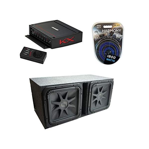 Kicker-Car-Audio-Solobaric-15-Dual-Loaded-Vented-Sub-Box-Bundle-with-Kicker-Car-Audio-KX-Series-Class-D-2400W-Amp-Harmony-Audio-Install-kit