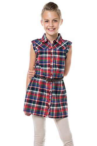 MD1556-1 PLAID PRINTED BELTED DRESS RED/NAVY (Western Dress Clothes)