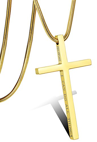 Stainless Steel Dainty Cross Necklace (Gold Plated) - 8