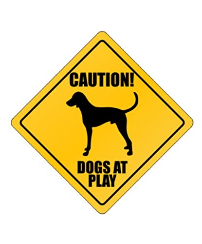 Dogs at play English Foxhound - Dogs [ Decorative Crossing Sign Wall Plaque ]