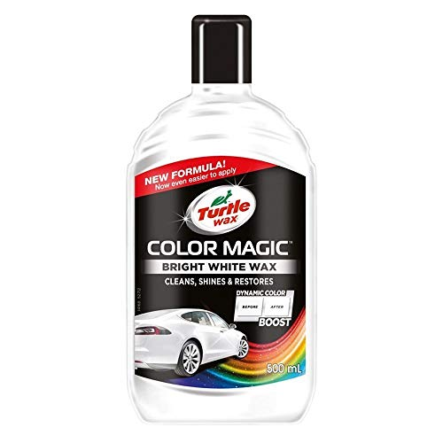 Turtle Wax Color Magic 52712 Car Polish Cleans Shines Restores Scratches - Bright White Wax 500ml (Best Car Wax For White Paint)