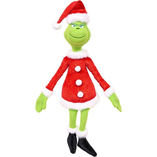 Santa Grinch Plush 3in x 7 1/2in 3in Plush Toy| for Christmas; New Year or Birthday Grinch-Theme-Party -