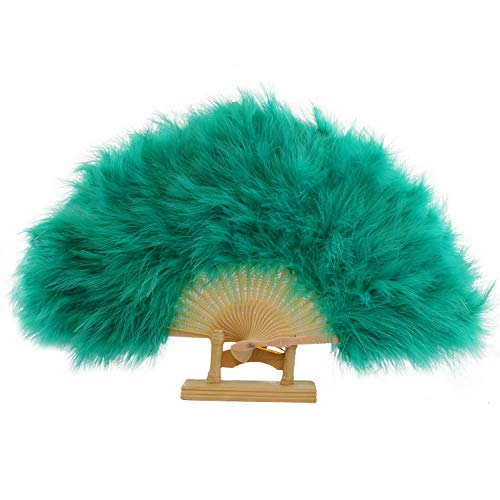 Ws&Wt Marabou Feather Folding Fan 20s Vintage Style Flapper Hand Fan for Costume Dancing Party-Teal ()