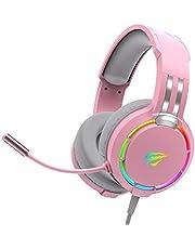 havit RGB Wired Gaming Headset PC USB 3,5 mm XBOX / PS4 / PS5-headset med 50 MM Driver, Surroundljud & HD-mikrofon, XBOX One Gaming Overear-hörlurar för bärbar dator, rosa (H2010d)