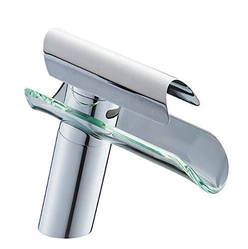 - GONGFF Single Handle One Hole Bathroom Sink Faucet Set Wide Spout Waterfall Glass Hotel Washbasin Restaurant Kitchen Bathroom Basin Mix Taps Ceramic Valve Chrome