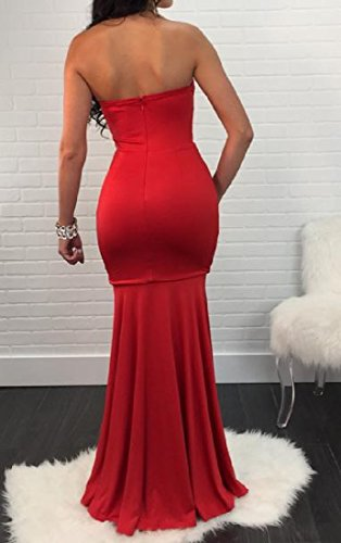 Evenning Long Flounced Slim Strapless Dress Hem Women Red Party Fit Coolred nwAqYZ8x